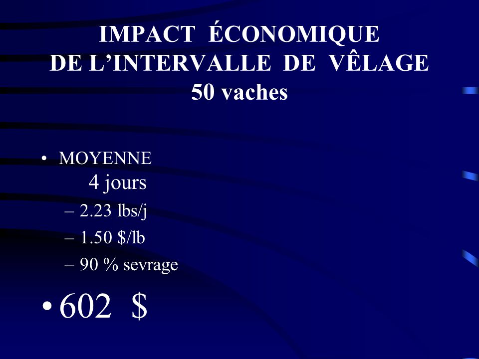 IMPACT ÉCONOMIQUE DE L'INTERVALLE DE VÊLAGE 50 vaches