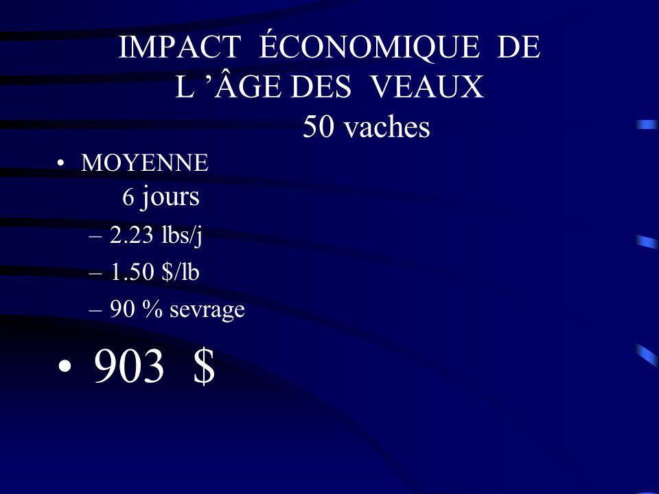 IMPACT ÉCONOMIQUE DE L 'ÂGE DES VEAUX 50 vaches