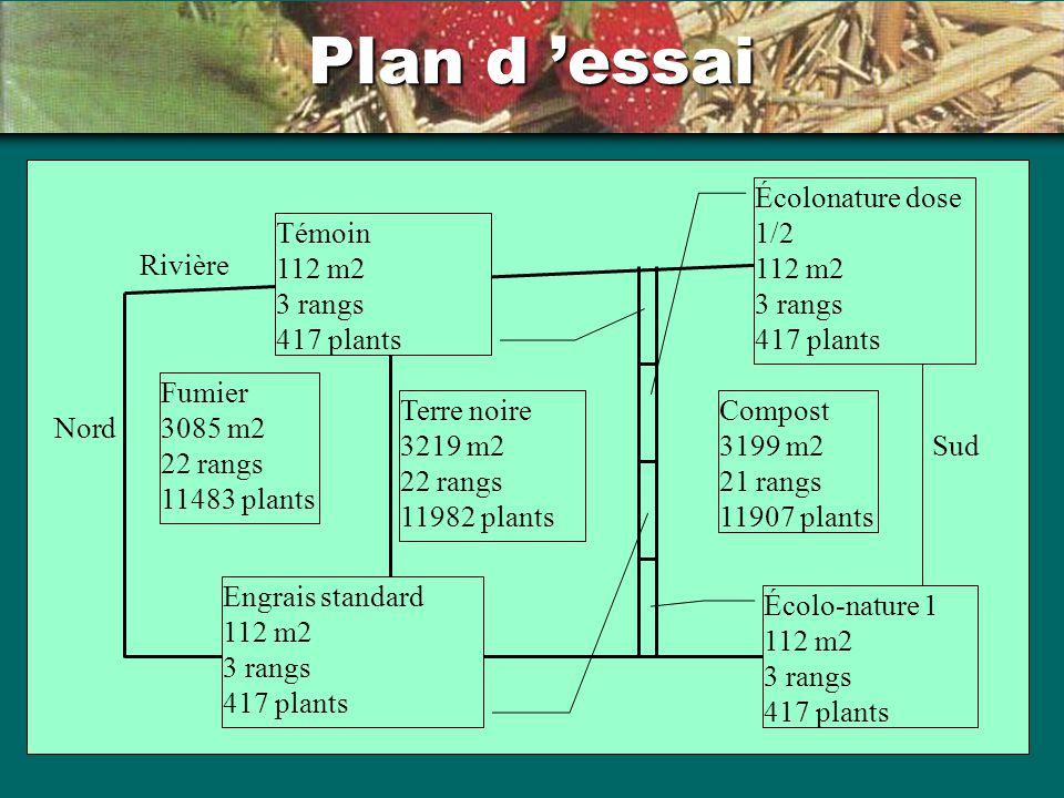 Plan d 'essai Écolonature dose 1/2 112 m2 3 rangs 417 plants Témoin