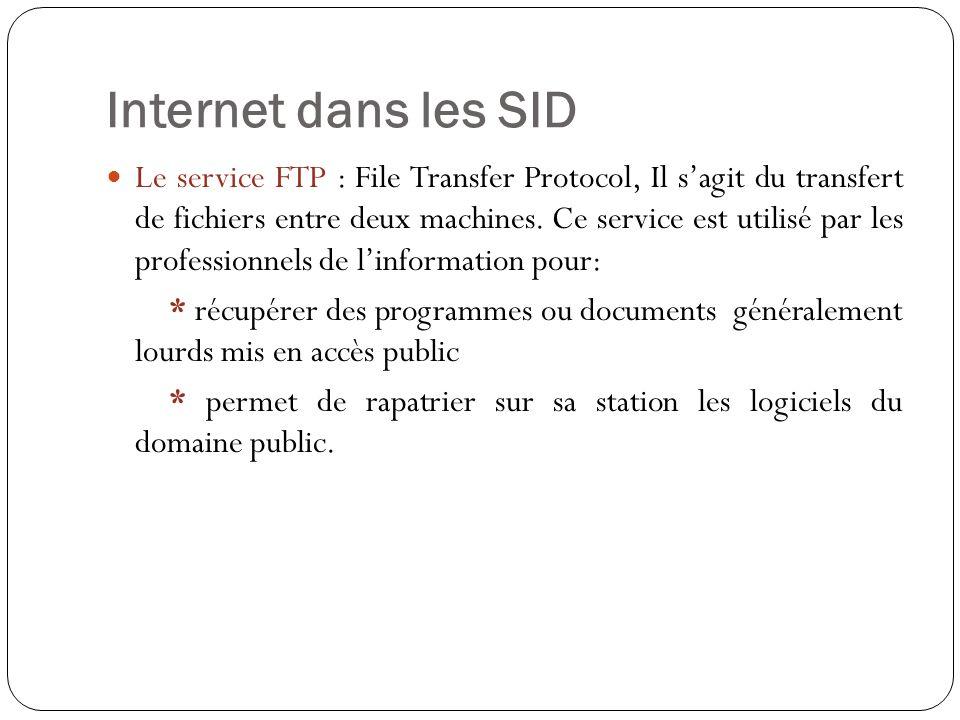 Internet dans les SID