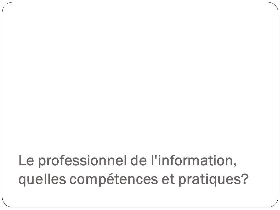 Le professionnel de l information, quelles compétences et pratiques
