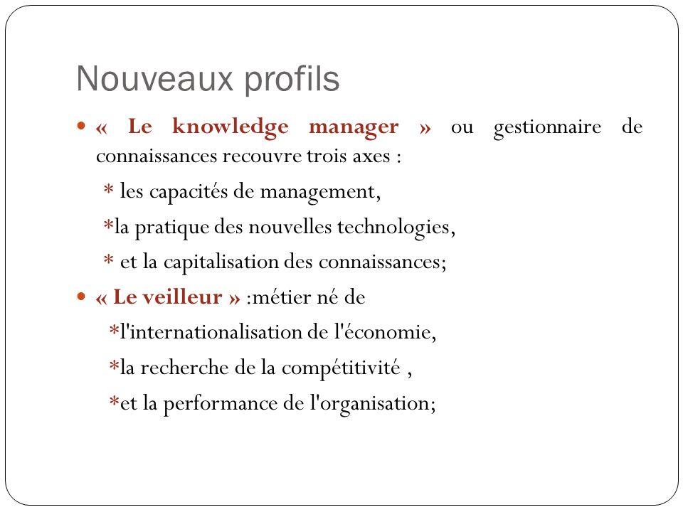 Nouveaux profils « Le knowledge manager » ou gestionnaire de connaissances recouvre trois axes : * les capacités de management,