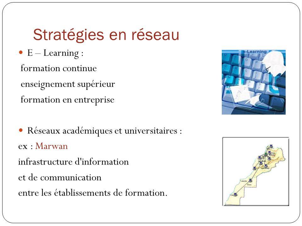 Stratégies en réseau E – Learning : formation continue