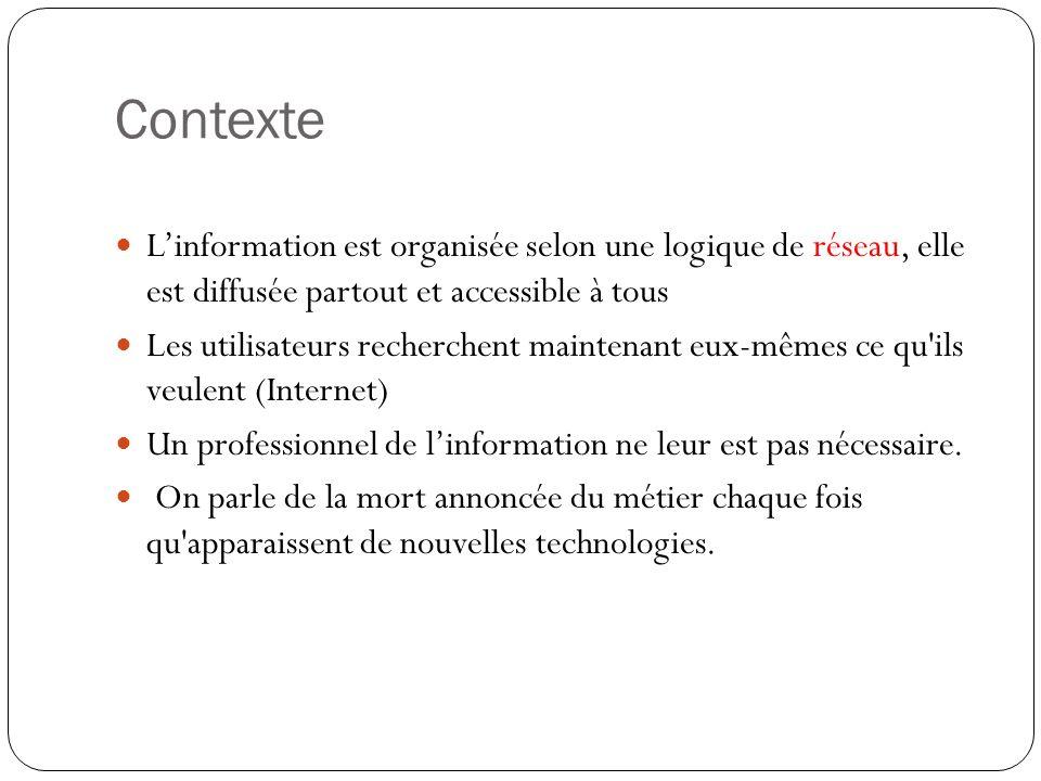 Contexte L'information est organisée selon une logique de réseau, elle est diffusée partout et accessible à tous.