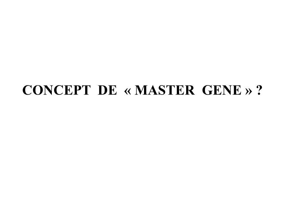 CONCEPT DE « MASTER GENE »