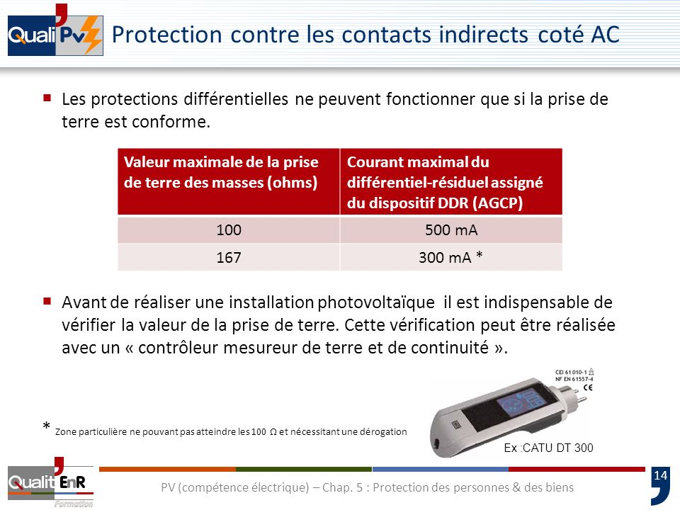 Protection contre les contacts indirects coté AC