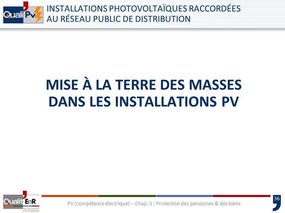 Mise à la terre des masses dans les installations PV