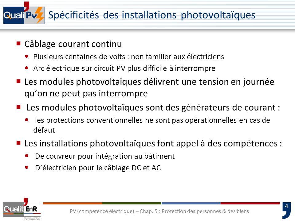 Spécificités des installations photovoltaïques