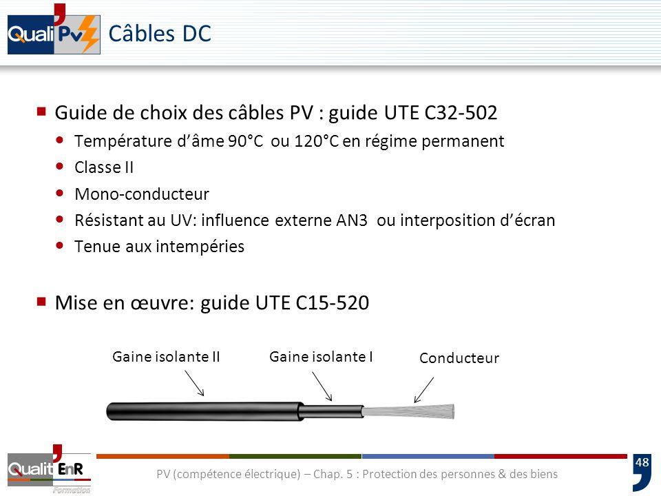 Câbles DC Guide de choix des câbles PV : guide UTE C32-502