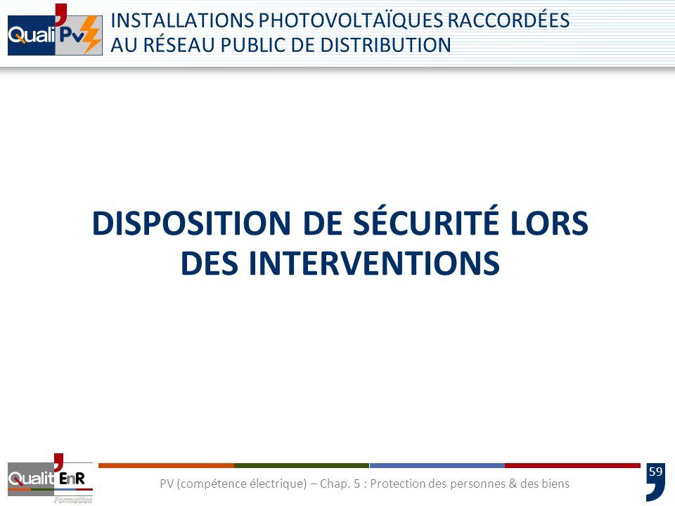 Disposition de sécurité lors des interventions