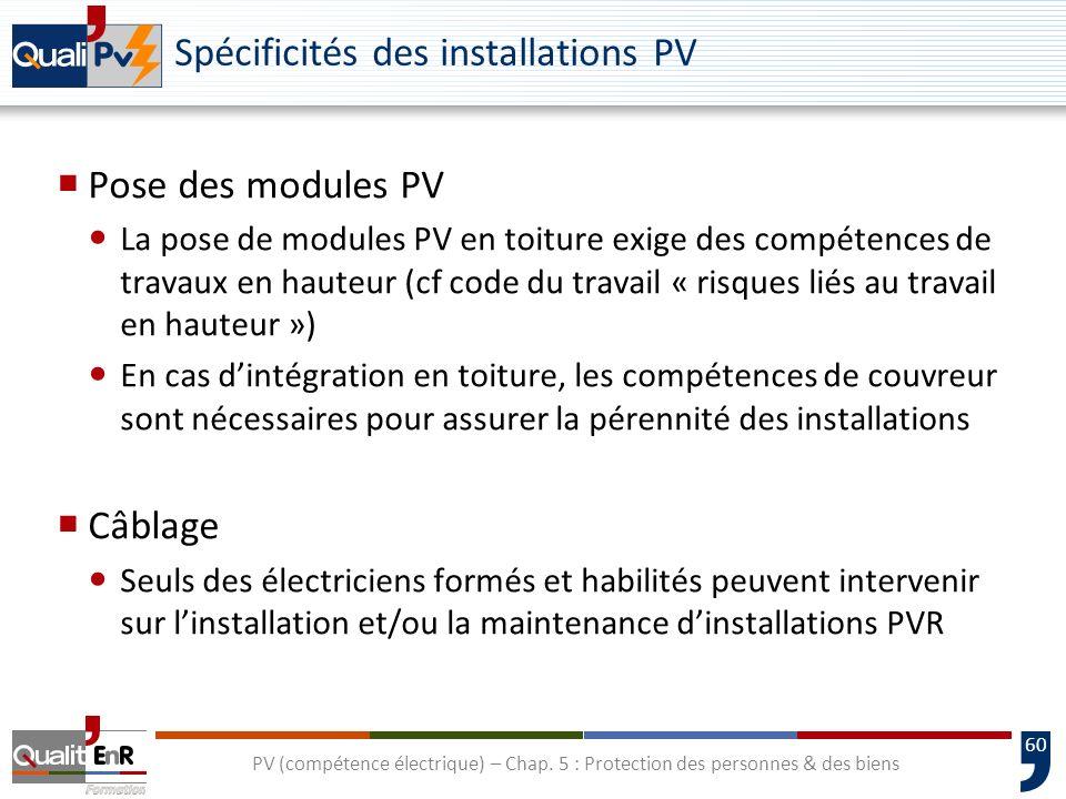 Spécificités des installations PV