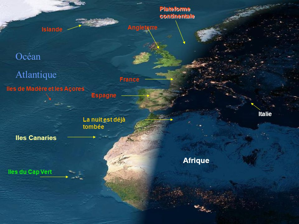 Océan Atlantique Afrique Iles Canaries Plateforme continentale