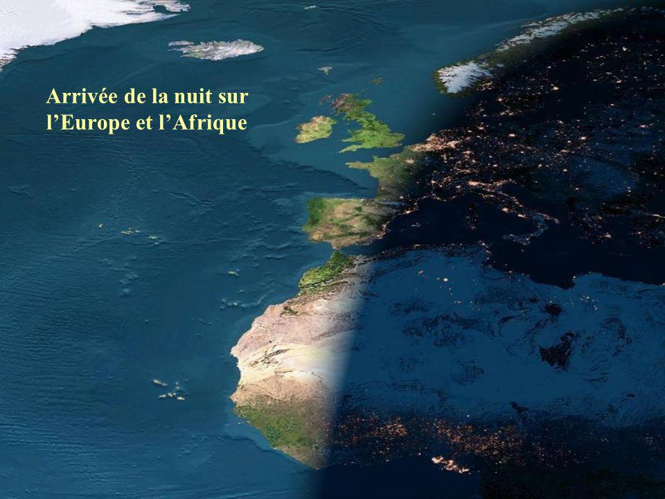Arrivée de la nuit sur l'Europe et l'Afrique
