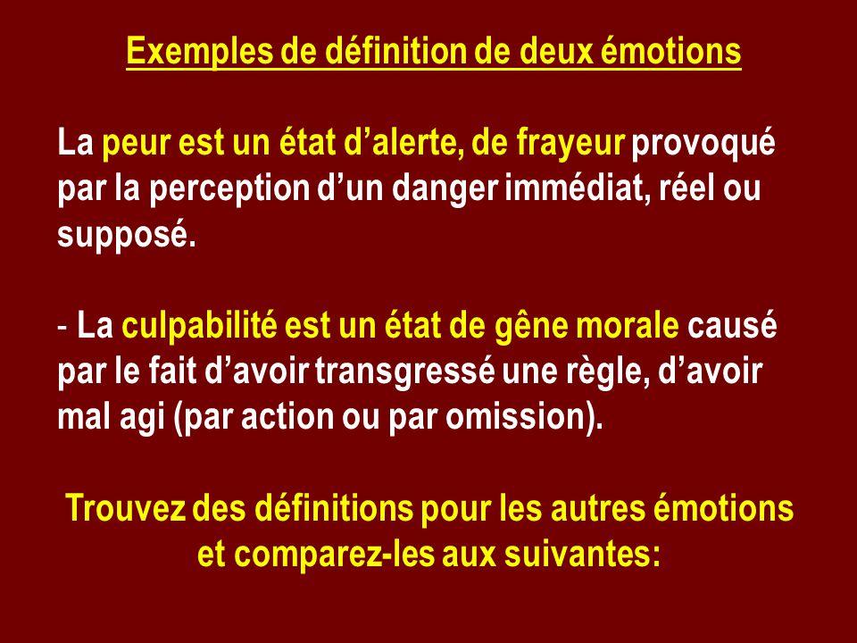 Exemples de définition de deux émotions