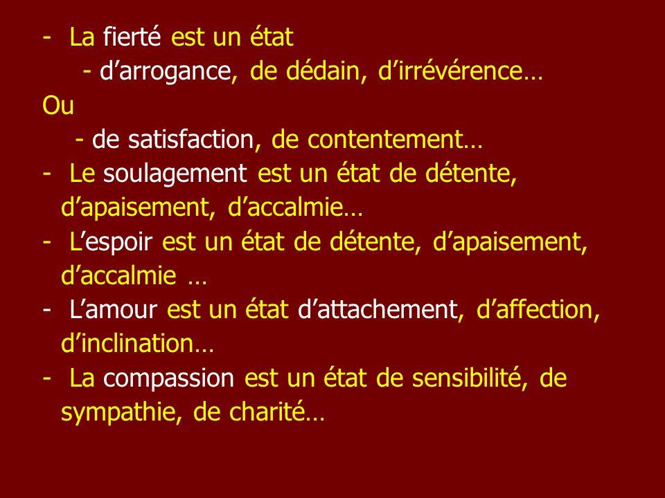 La fierté est un état - d'arrogance, de dédain, d'irrévérence… Ou. - de satisfaction, de contentement…