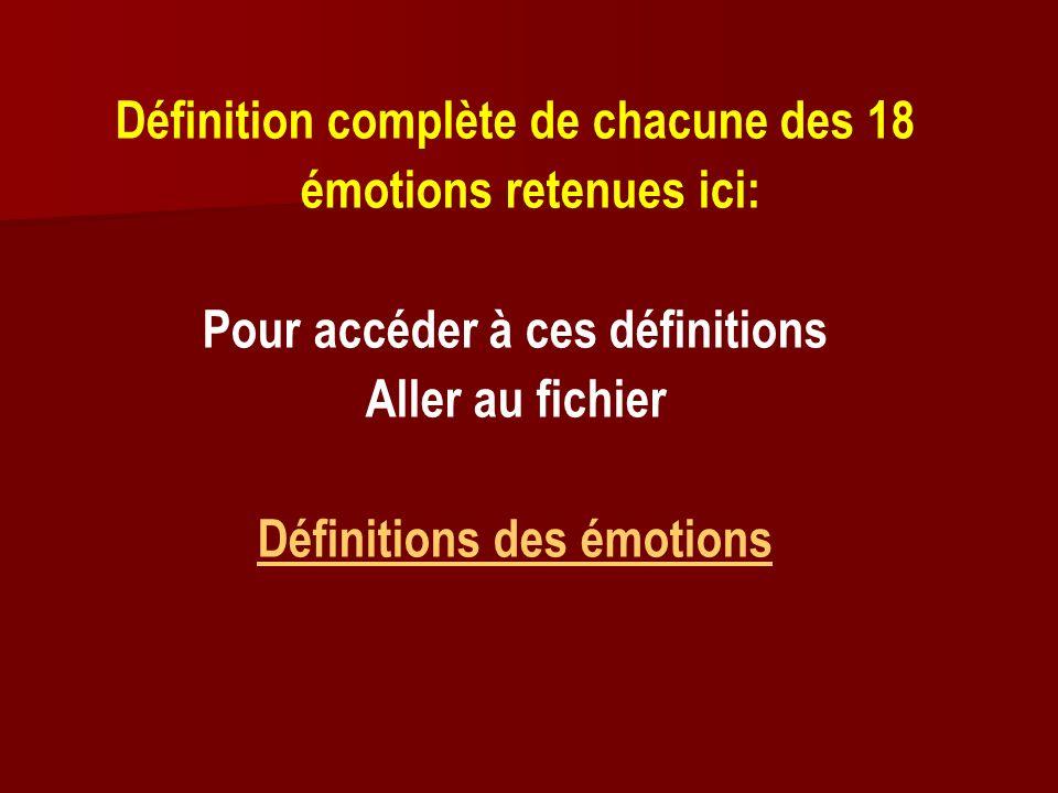 Définition complète de chacune des 18 émotions retenues ici: