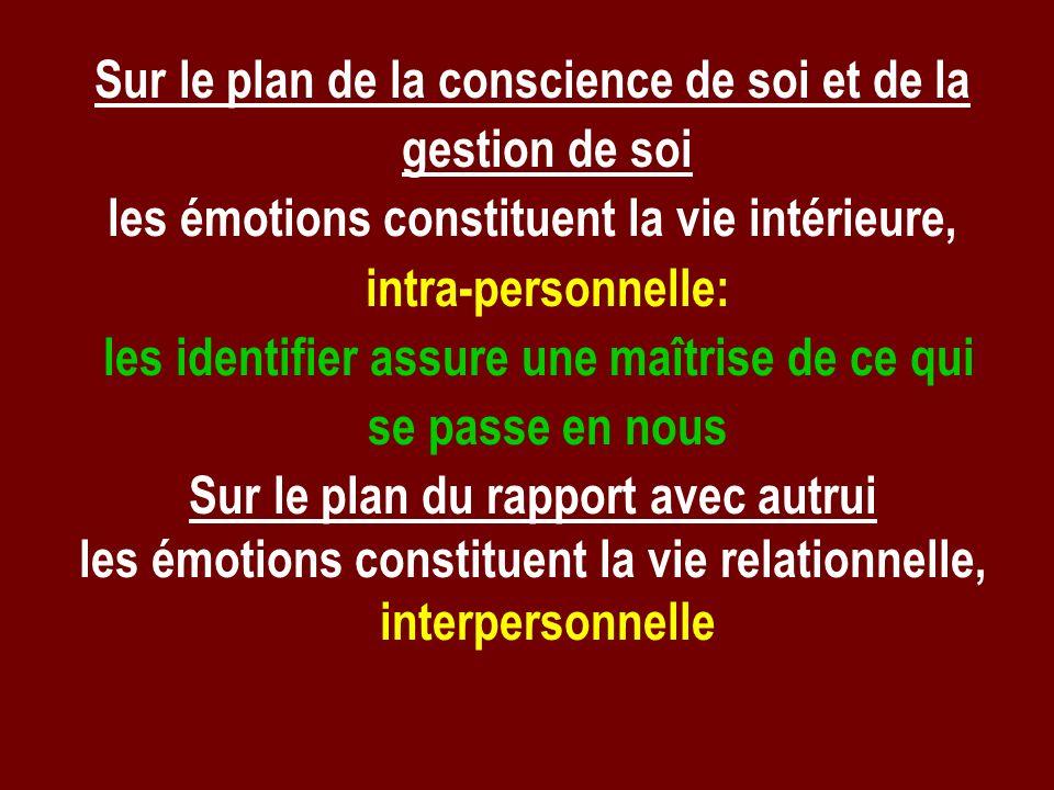 Sur le plan de la conscience de soi et de la gestion de soi