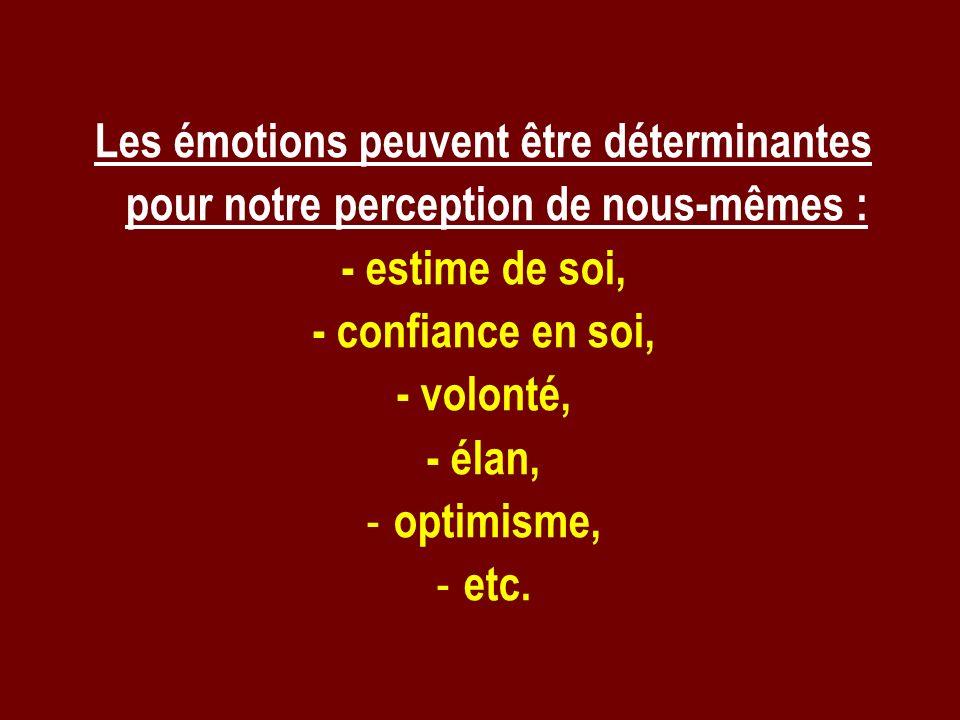 Les émotions peuvent être déterminantes pour notre perception de nous-mêmes :