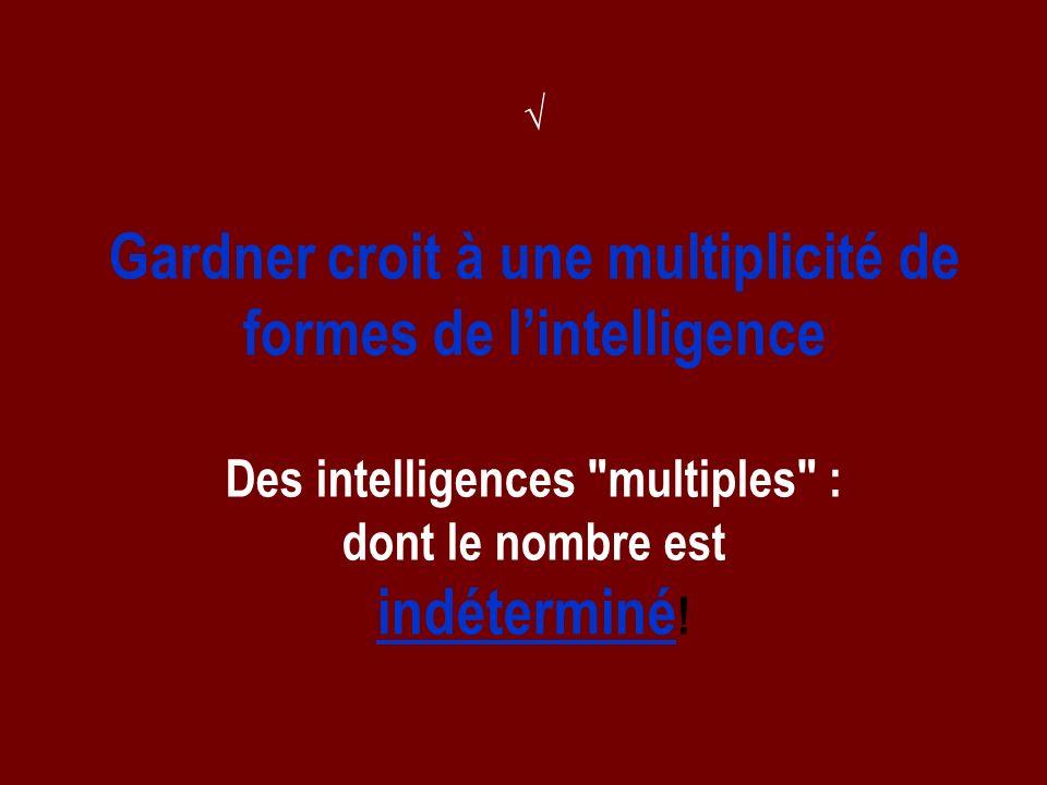 Gardner croit à une multiplicité de formes de l'intelligence