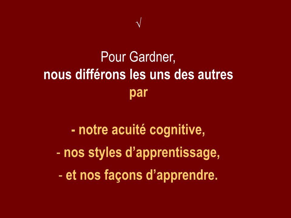- notre acuité cognitive, nos styles d'apprentissage,
