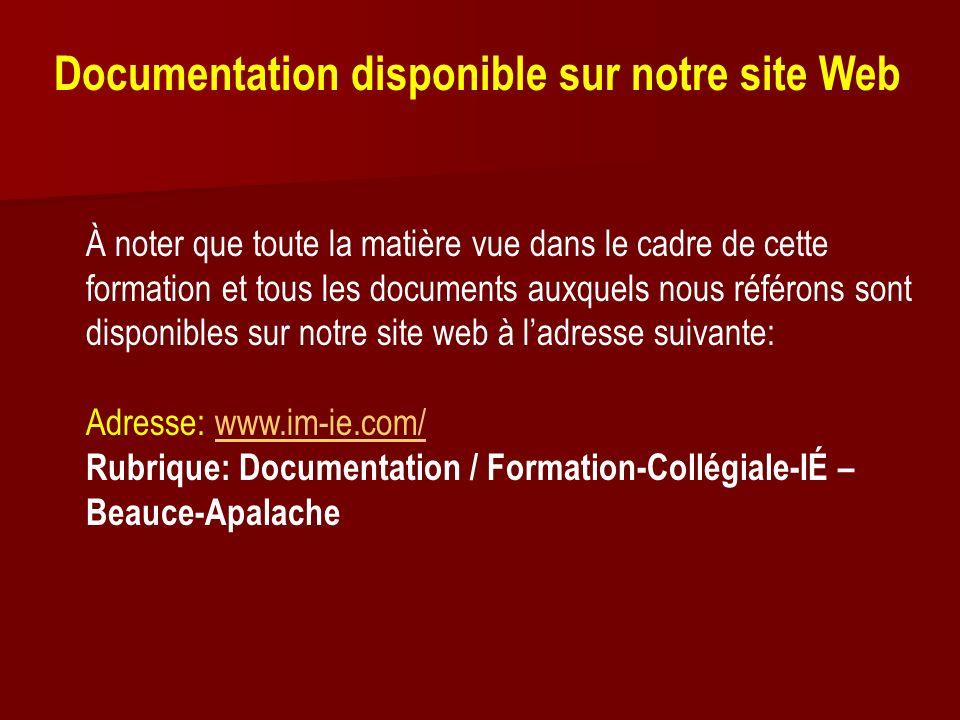 Documentation disponible sur notre site Web