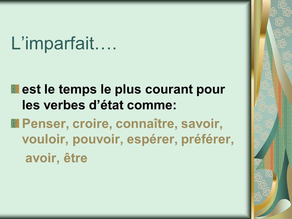 L'imparfait…. est le temps le plus courant pour les verbes d'état comme: Penser, croire, connaître, savoir, vouloir, pouvoir, espérer, préférer,