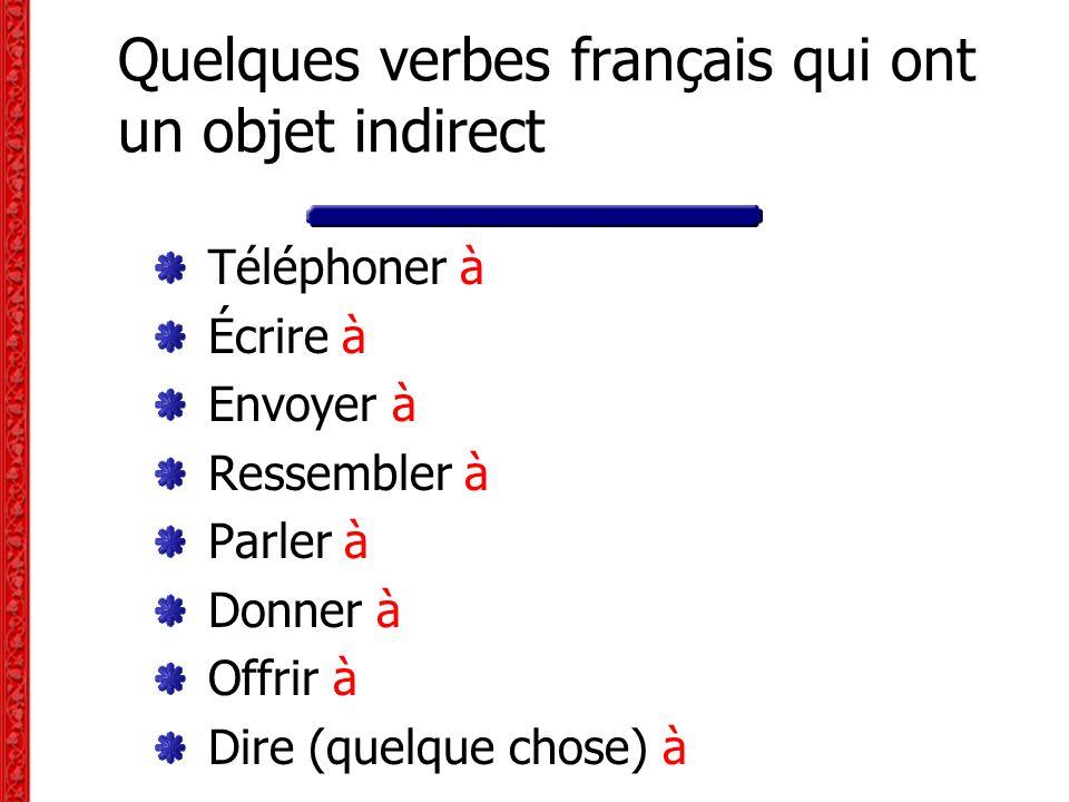 Quelques verbes français qui ont un objet indirect