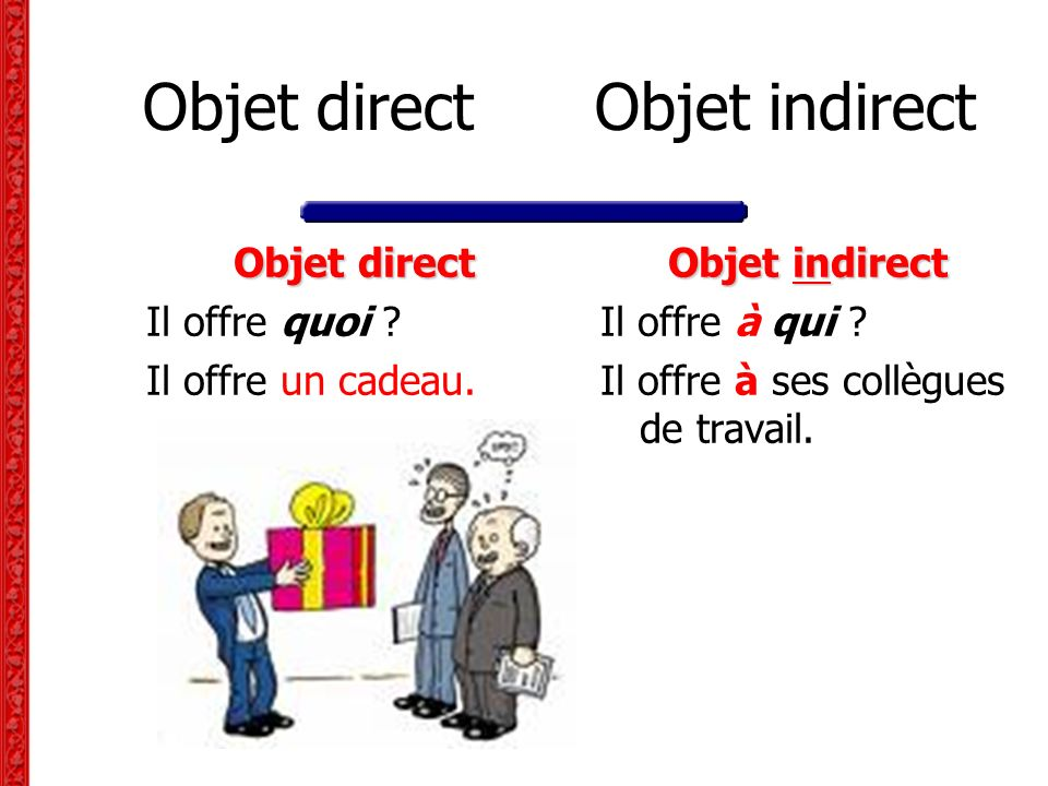 Objet direct Objet indirect