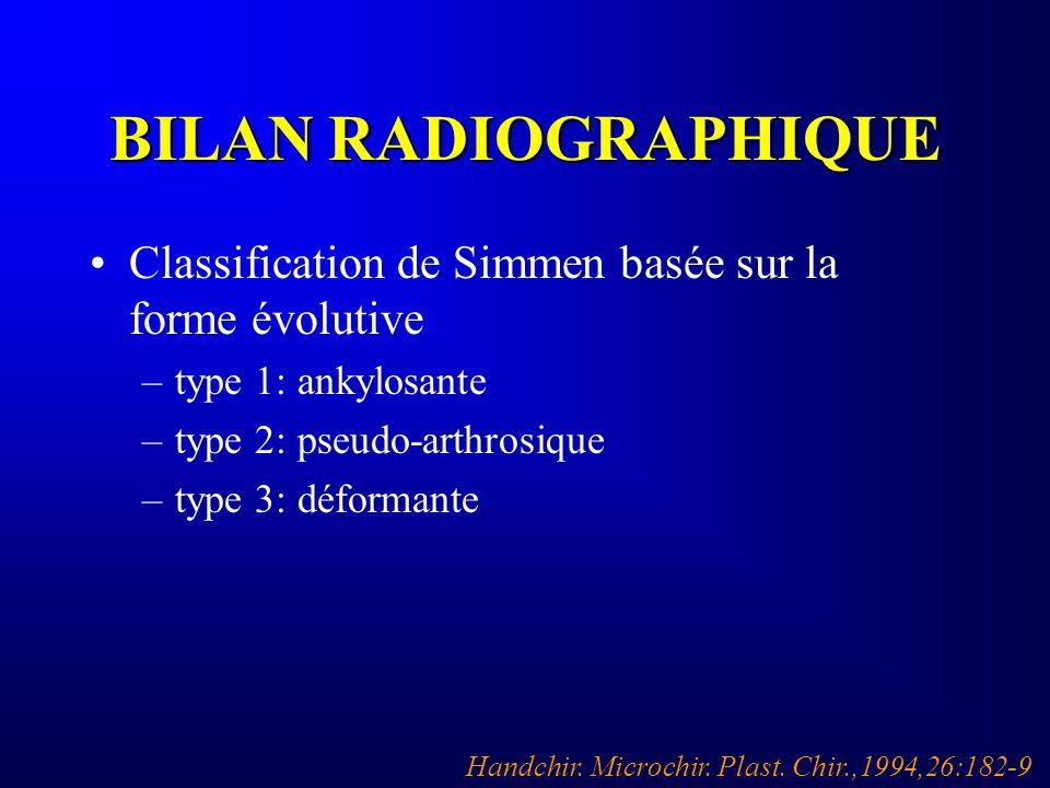 BILAN RADIOGRAPHIQUE Classification de Simmen basée sur la forme évolutive. type 1: ankylosante. type 2: pseudo-arthrosique.