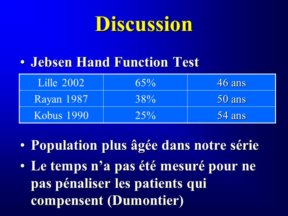 Discussion Jebsen Hand Function Test