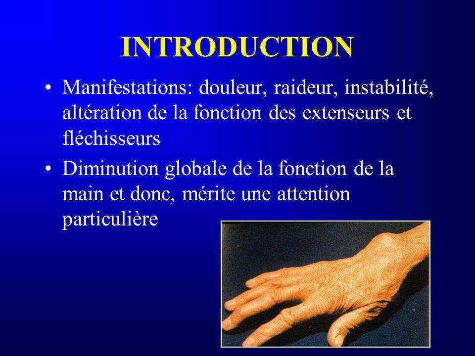 INTRODUCTION Manifestations: douleur, raideur, instabilité, altération de la fonction des extenseurs et fléchisseurs.
