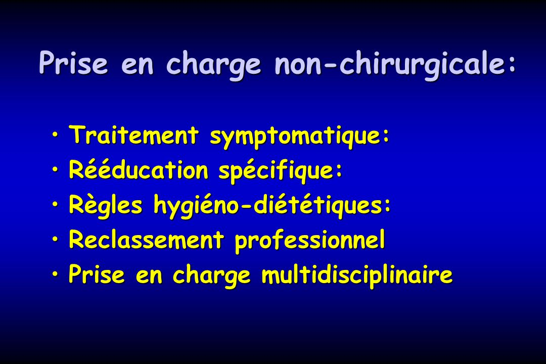 Prise en charge non-chirurgicale: