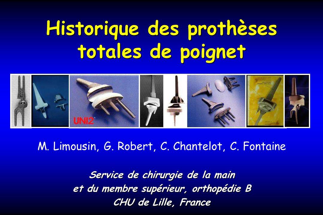 Historique des prothèses totales de poignet