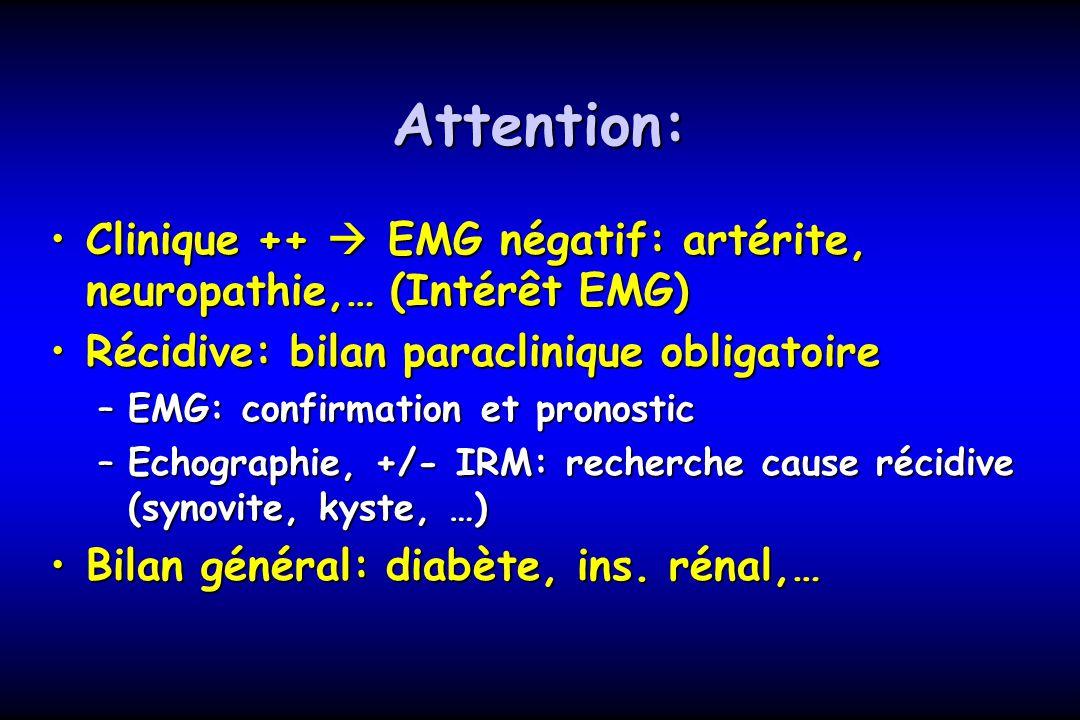Attention: Clinique ++  EMG négatif: artérite, neuropathie,… (Intérêt EMG) Récidive: bilan paraclinique obligatoire.
