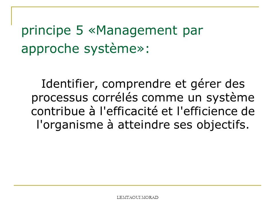 principe 5 «Management par approche système»:
