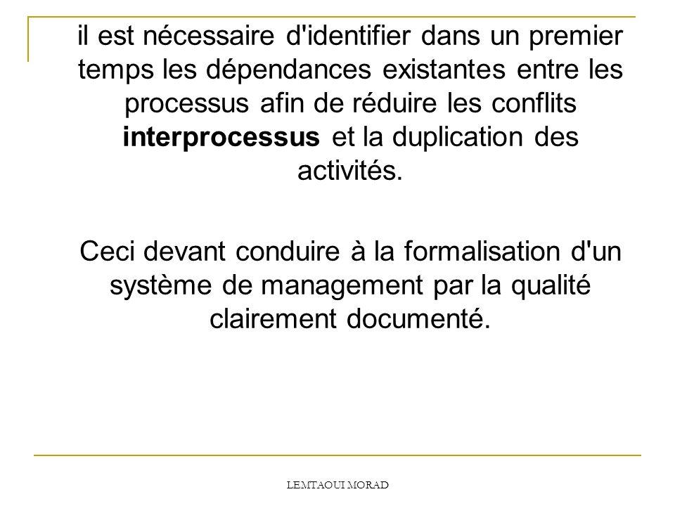 il est nécessaire d identifier dans un premier temps les dépendances existantes entre les processus afin de réduire les conflits interprocessus et la duplication des activités.