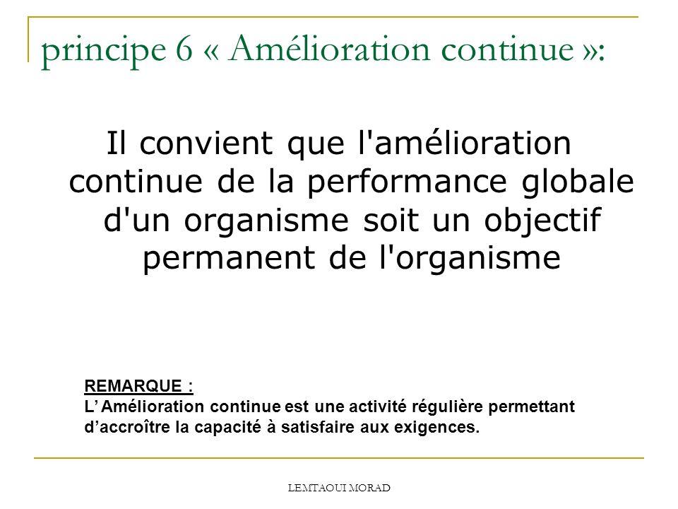 principe 6 « Amélioration continue »: