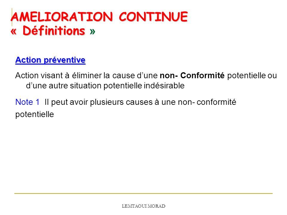 AMELIORATION CONTINUE « Définitions »