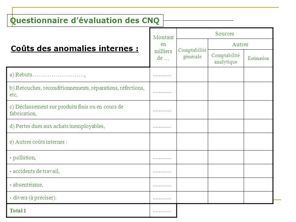 Questionnaire d'évaluation des CNQ