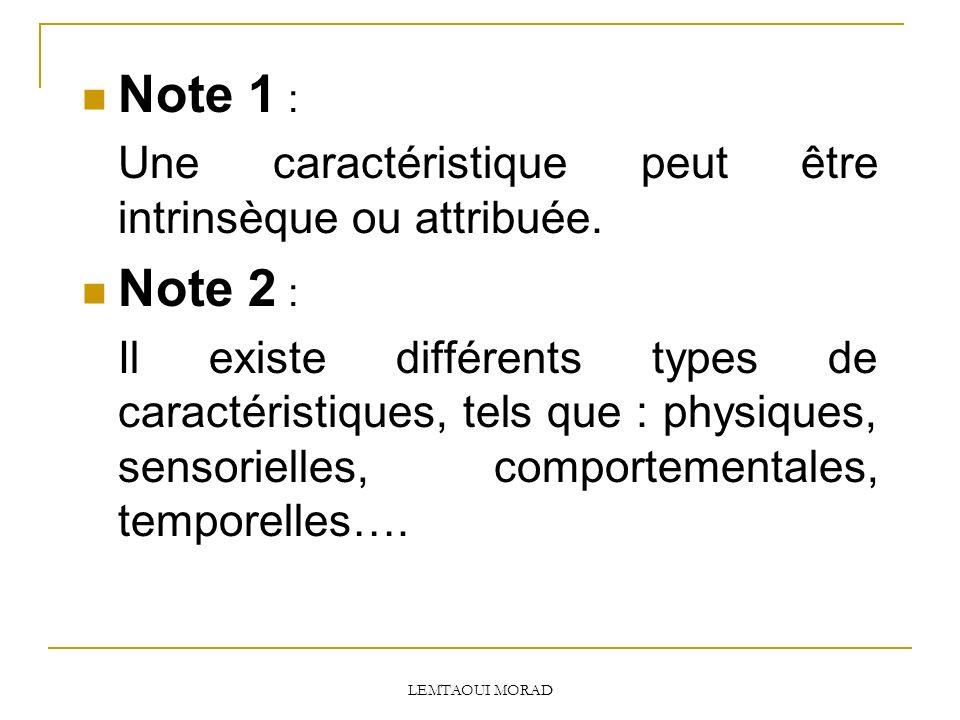 Note 1 : Une caractéristique peut être intrinsèque ou attribuée. Note 2 :