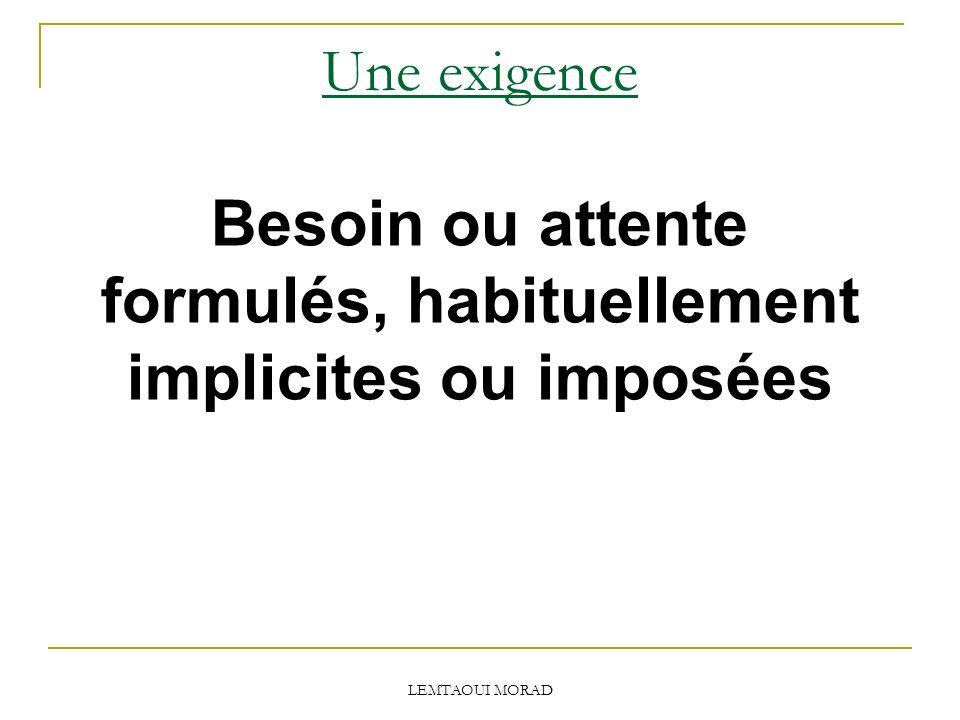 Besoin ou attente formulés, habituellement implicites ou imposées