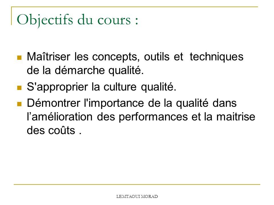Objectifs du cours : Maîtriser les concepts, outils et techniques de la démarche qualité. S approprier la culture qualité.