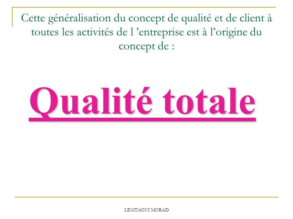 Cette généralisation du concept de qualité et de client à toutes les activités de l 'entreprise est à l'origine du concept de :