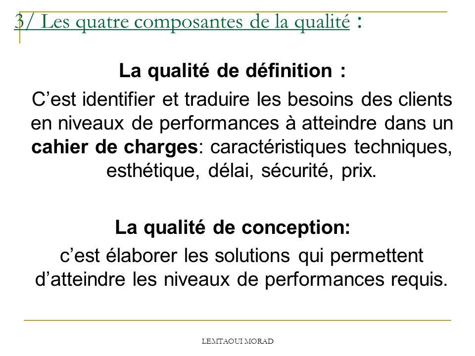 3/ Les quatre composantes de la qualité :