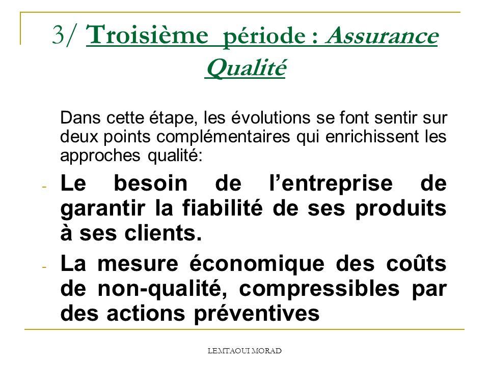 3/ Troisième période : Assurance Qualité