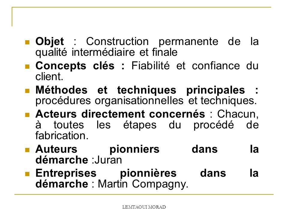 Objet : Construction permanente de la qualité intermédiaire et finale