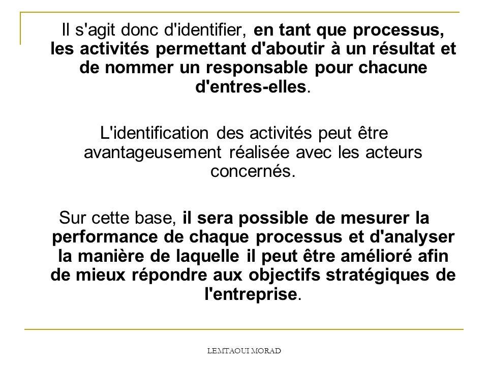 Il s agit donc d identifier, en tant que processus, les activités permettant d aboutir à un résultat et de nommer un responsable pour chacune d entres-elles.