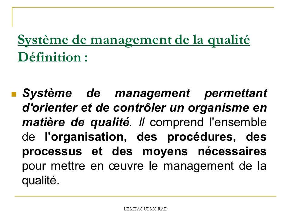 Système de management de la qualité Définition :