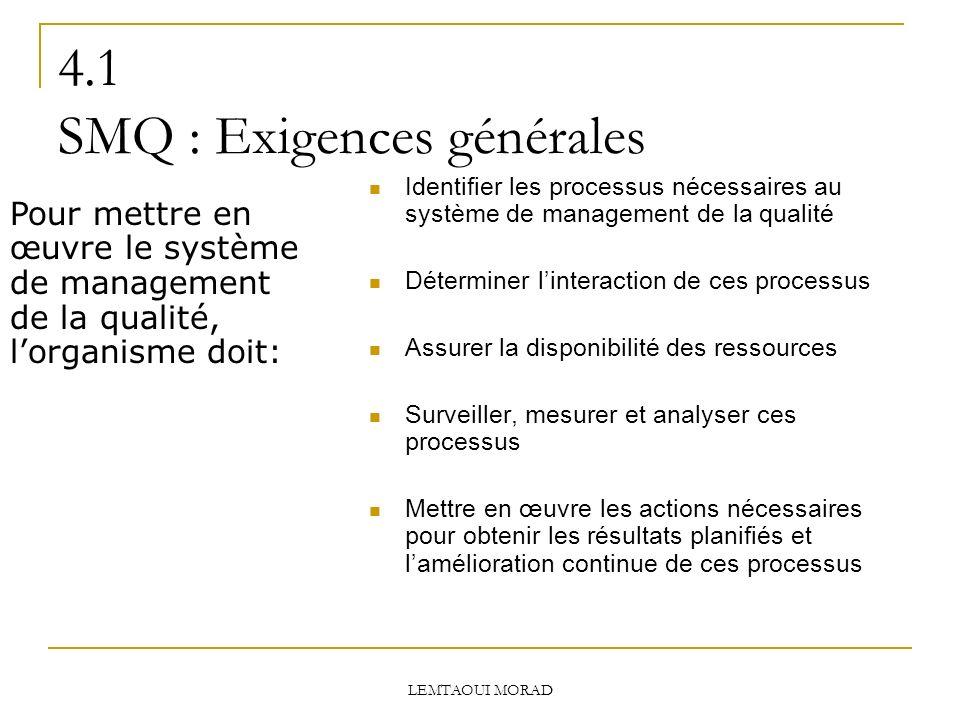 4.1 SMQ : Exigences générales