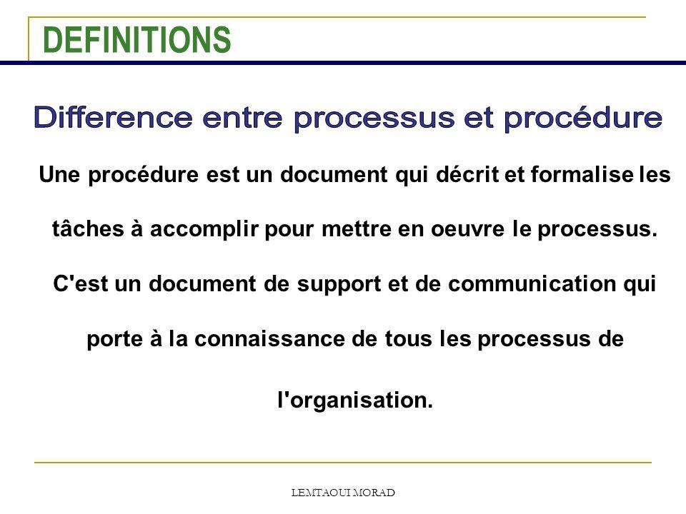 Difference entre processus et procédure
